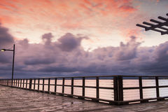 Woody Point Jetty au coucher du soleil Images stock