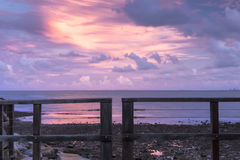 Woody Point Jetty bij zonsondergang Stock Afbeelding