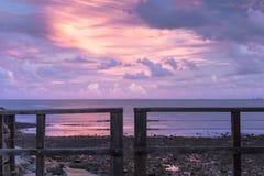 Woody Point Jetty en la puesta del sol Imagen de archivo