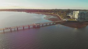 Woody Point Jetty, Redcliffe peninsula, Australia. Woody Point Jetty is famous landmark on the Moreton Bay on Redcliffe peninsula, Brisbane, Australia stock video footage