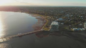 Woody Point Jetty, Redcliffe peninsula, Australia. Woody Point Jetty is famous landmark on the Moreton Bay on Redcliffe peninsula, Brisbane, Australia stock footage