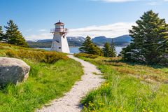 Woody Point Lighthouse in Newfoundland. Woody Point Lighthouse on Bonne Bay in Newfoundland, Canada stock photography
