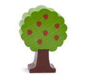 Woody toy apple tree. With apple isolated on white Royalty Free Stock Photos