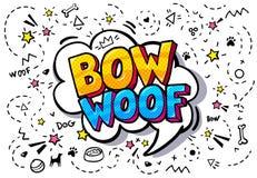Woof, arco nella bolla di parola Fotografia Stock
