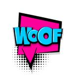 Woof comic text white background Royalty Free Stock Image