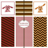 Seamless patterns in red, brown and orange. Royalty Free Stock Images