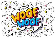 Woof nella bolla di parola Fotografie Stock