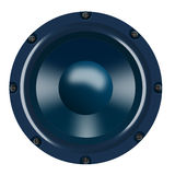 Woofer on blue nuances. A front viewed blue woofer sealed with screws isolated on white background Stock Photo