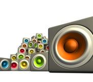 woofer cubique de système de son de la couleur 3d multiple Photographie stock libre de droits