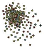 woofer cubique du système de son 3d sur le blanc Images libres de droits