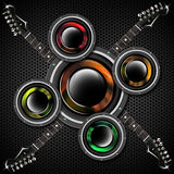 Woofer and Guitar Hexagons Background Royalty Free Stock Images