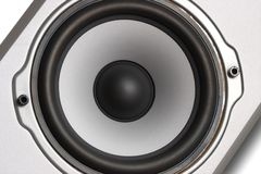 Woofer of silver speaker. Woofer of Home Theater 2-Way Speaker System, close-up photo Royalty Free Stock Images