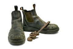 Wook Boots & Wrench Royalty Free Stock Images