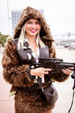 Wookie girl with gun Royalty Free Stock Images