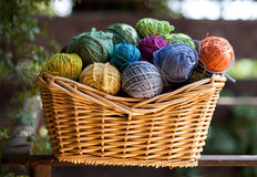 Wool. Colorful natural balls of wool in the basqet ,daylight background Stock Photo