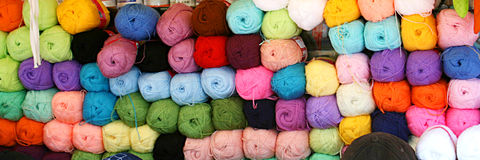 Wool. Colorful woolen balls in shop Stock Image