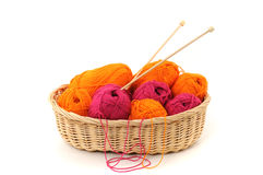 Wool. Multicolored wool in a basket on white background Stock Photography