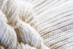 Wool background. Texture - cream coloured yarn and knitting Royalty Free Stock Photo