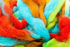 Wool background. Foreground of Colored wool hank skein Royalty Free Stock Photos