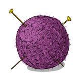 Wool ball and knitting needles. Cartoon Royalty Free Stock Images