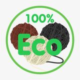 Wool ball. Set. 100 percent eco. Isolated on white background. Flat  stock illustration Stock Images