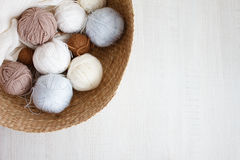 Wool balls. Colorful wool balls of wool close-up Royalty Free Stock Photo