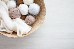 Wool balls. Colorful wool balls of wool close-up Royalty Free Stock Photos
