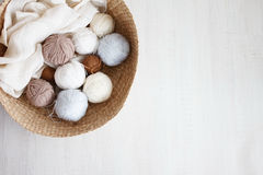 Wool balls. Colorful wool balls of wool close-up Stock Photos