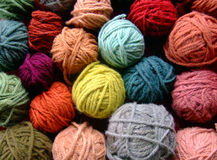 Wool balls. Coloured wool balls thread line royalty free stock images