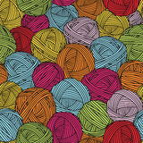 Wool balls, yarn skeins. Seamless pattern. Colorful background. Stock Image