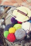 Wool in basket Royalty Free Stock Photos