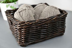 Wool in a basket Stock Photos