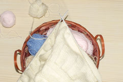Wool. A basket with different colors of wool yarn Royalty Free Stock Photos