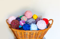 Wool in the basket Royalty Free Stock Photos