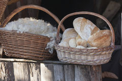 Wool and bread in the basket Royalty Free Stock Photo