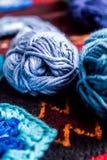 Wool. Bundles of blue woolnCanon 550D Stock Images