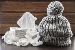 Wool cap and tissues. For the winter and the constipated Royalty Free Stock Images