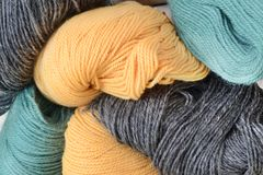 Wool clew. Coloured thread of wool in clews stock photos