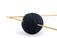 Wool Clew And Wooden Needles Stuck For Handicraft Royalty Free Stock Photography