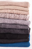 Wool clothing. Wool sweaters on white background Royalty Free Stock Photos