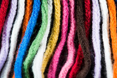 Wool colourful scarf. Closeup looks on colourful scarf showing the threads Royalty Free Stock Images