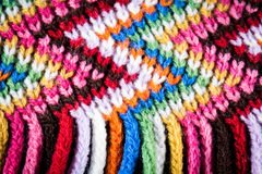 Wool colourful scarf. Closeup looks on colourful scarf showing the threads Royalty Free Stock Image