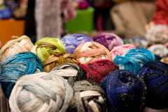 Wool and cord reels. Of different colors Stock Photography