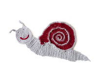 Wool crochet snail isolated Stock Image