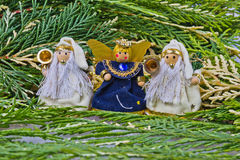 Wool decoration angels. Stock Photos