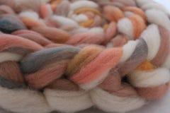 Wool. Dyed American Tunis sheep wool roving fiber Stock Photos