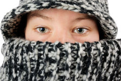 Wool eyes glance. Girl in wool clothing glancing eyes close up stock images