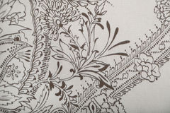 Wool fabric with white and brown floral print Stock Photo