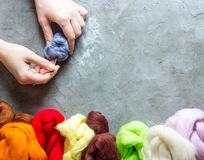 Wool for felting Stock Photos