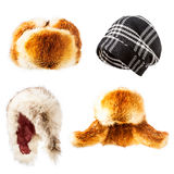 Wool and fur hats set. Fur and wool hats collection isolated on white background, winter warm fluffy and trendy caps Stock Photography
